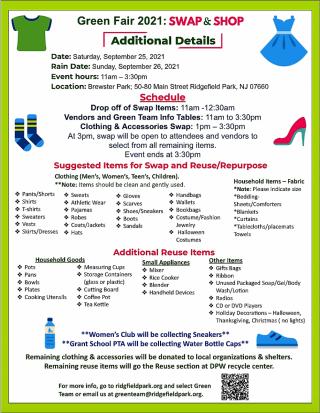 Green Fair Swap & Shop Information Sheet